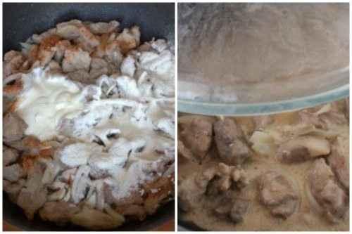 Затем добавляем томатную пасту, сметану и перемешиваем. Солим, перчим и ещё раз перемешиваем. Закрываем крышкой и тушим 10 минут.